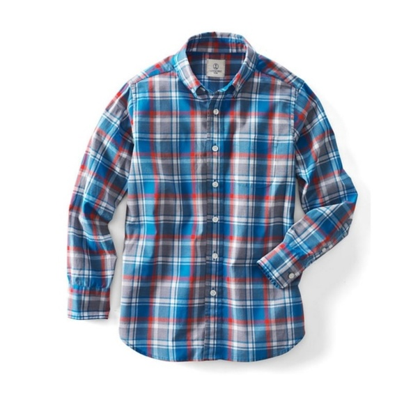 df82d18f9d2d5 Boys Lands End Poplin Plaid Button Up Shirt 5 6